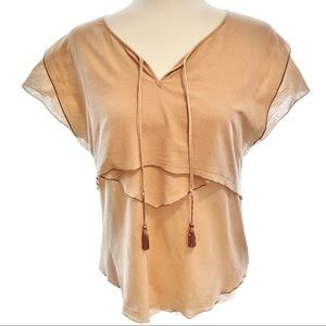 See by Chloé tan blouse with tassels